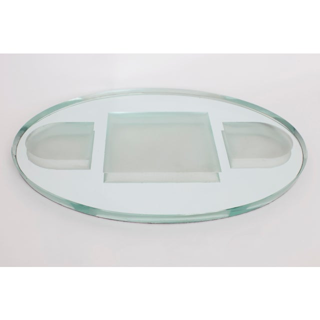 French 1950s Vintage French Art Deco Jean Luce Style Mirrored Tray For Sale - Image 3 of 5
