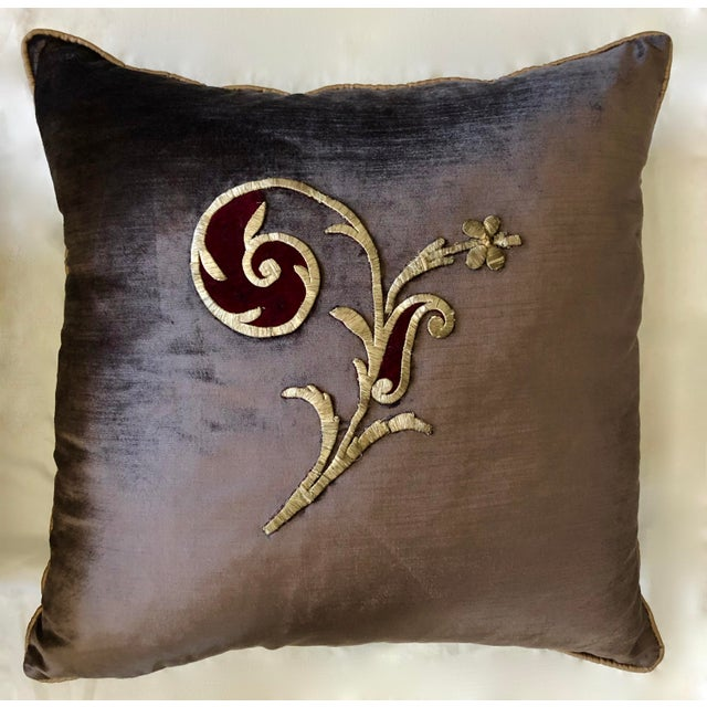 Baroque Early 19th Century Dark Grey Velvet Pillows - a Pair For Sale - Image 3 of 13