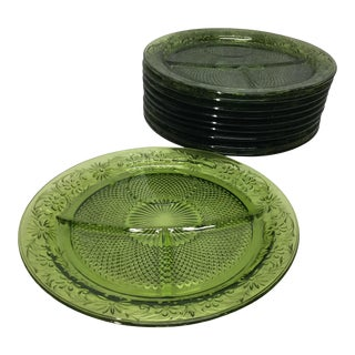 Mid Century Depression Glass Divided Plates - Set of 10 For Sale