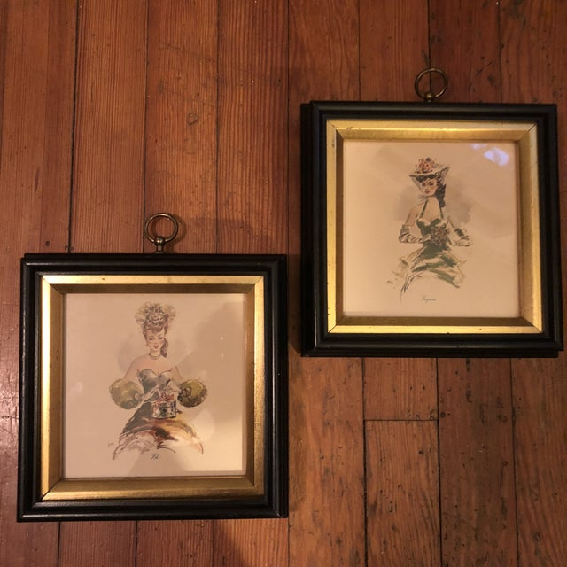 Green Vintage Hollywood Regency Southern Belles Lady Framed Picture Prints - A Pair For Sale - Image 8 of 8
