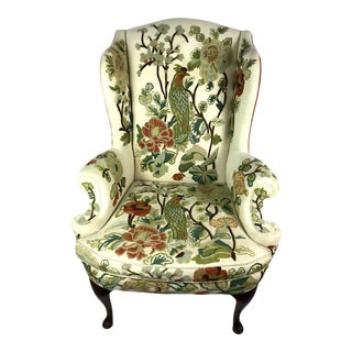 Vintage Hickory Chair Crewel Embroidered Wingback Chair For Sale