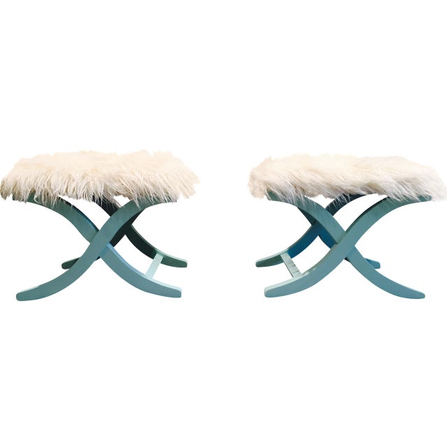 Aqua/Teal X-Benches with Faux-Mongolian Fur - Pair - Image 1 of 9