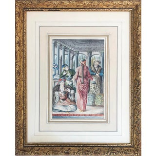 19th Century Antique Orientalist Watercolor Painting of Figures in an Interior For Sale