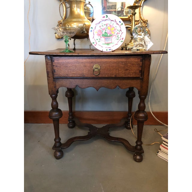 19th Century Traditional William & Mary Revival English Oak Table with Drawer For Sale - Image 10 of 12