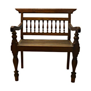 Antique Malaysian Wood Settee or Bench For Sale