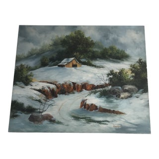 Original Oil on Canvas Winter Scene Painting For Sale