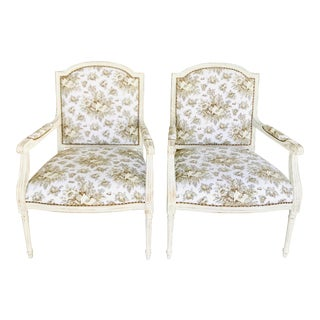 1990s Vintage Gustavian in Scalamandre Fabric Chic Distressed Side Chairs- a Pair For Sale
