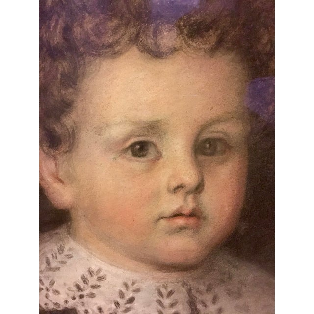 Early 20th Century Early 20th Century Antique Pastel Portrait of a Boy Drawing For Sale - Image 5 of 10
