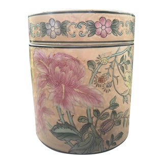 Hand-Painted Peony Floral Ceramic Tea Caddy From Macau For Sale