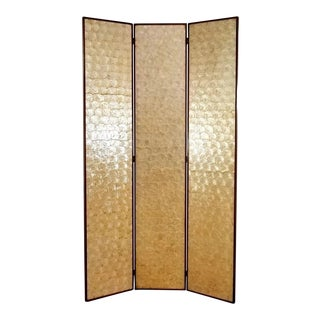 Vintage Mid Century Three Panel Capiz Shell Room Divider For Sale