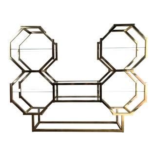 Vintage Mid Century Modern Golden Anodized Aluminum Geometric Etagère For Sale