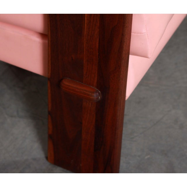 Mid Century Modern Adrian Pearsall for Craft Associates Pink Vinyl & Walnut Sofa For Sale - Image 9 of 13