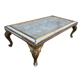 Gold Gilt Tarnished Mirrored Coffee Table For Sale
