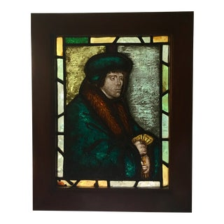 Antique Stained Glass Panel of Thomas More