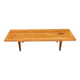 1960s Mid-Century Modern Striped Wood Coffee Table For Sale
