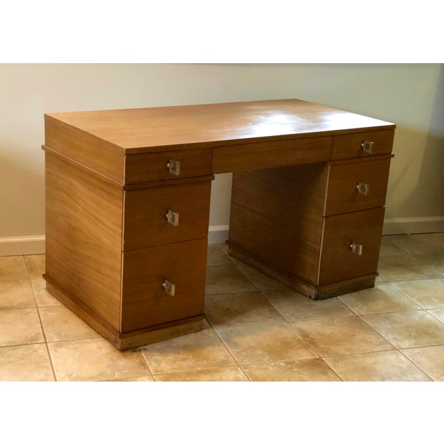 """Mid Century Blonde Wood Double Pedestal Desk 1.75"""" Square Brass Pulls For Sale - Image 11 of 11"""