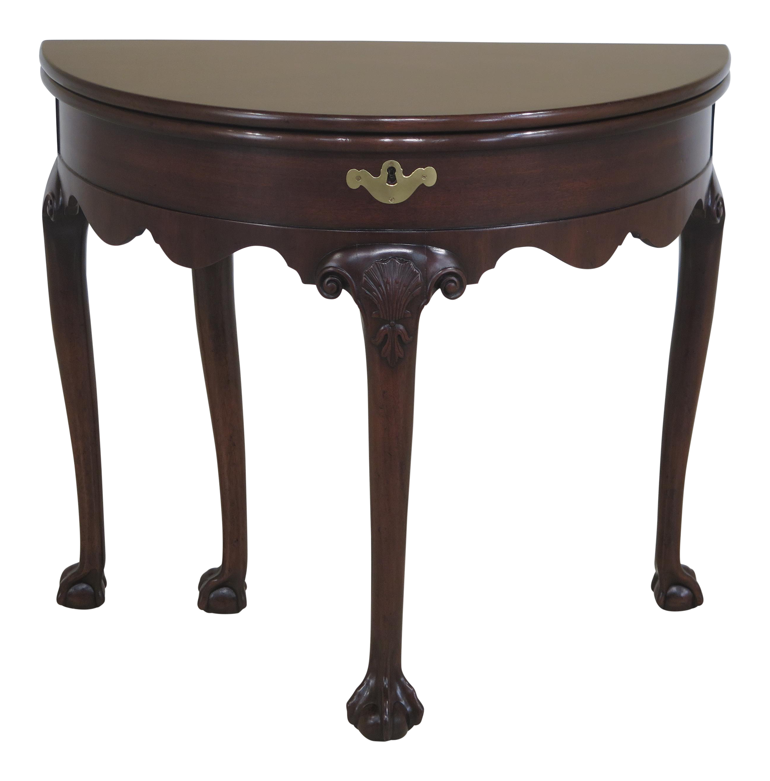 Kittinger Mahogany Half Round Claw Foot Table For Sale