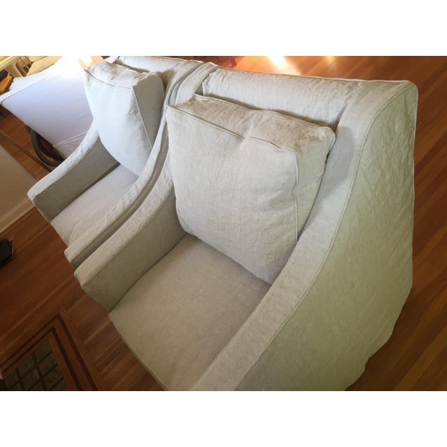 Designer Linen Slipcover Club Chairs - A Pair - Image 6 of 7