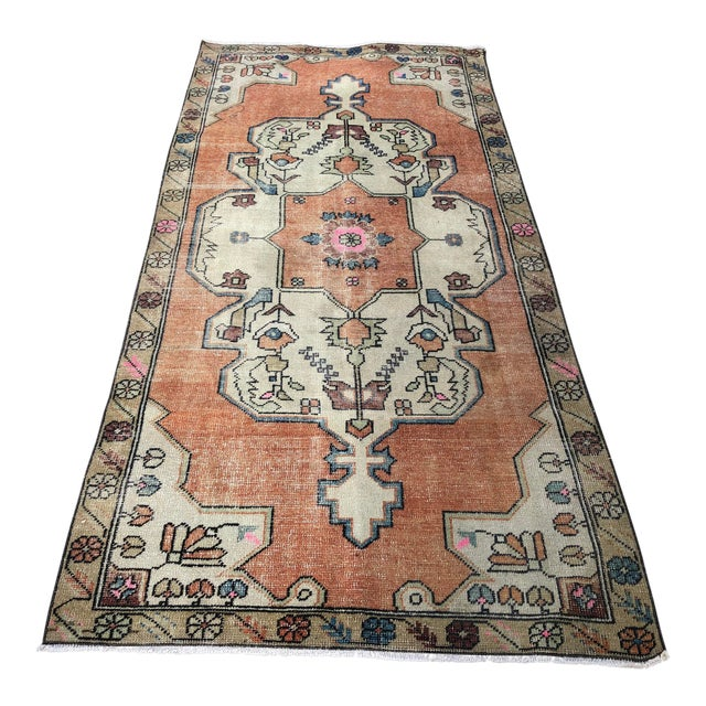 1960s Vintage Anatolian Floral Rug- 3′8″ × 7′9″ For Sale