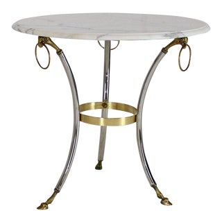 Brass Chrome Marble-Top Hoof Feet Large Rings Accents Gueridon Centre Table For Sale
