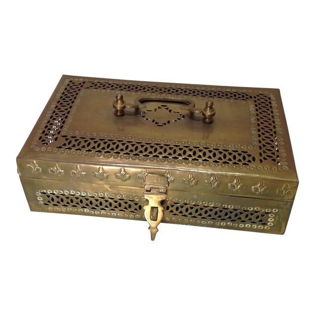 Ornate Vintage Hinged Brass Box - Image 1 of 10