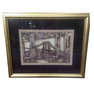 Aes Peterson Original MCM Signed Brooklyn ? Bridge Cityscape Sketch on Vellum For Sale