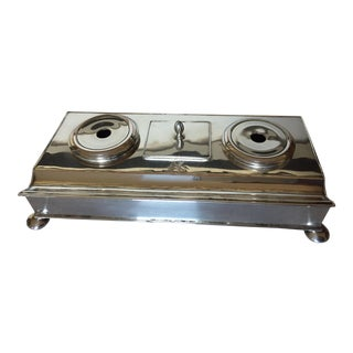 English Silver Plate Rectangular Form Double Inkwell For Sale