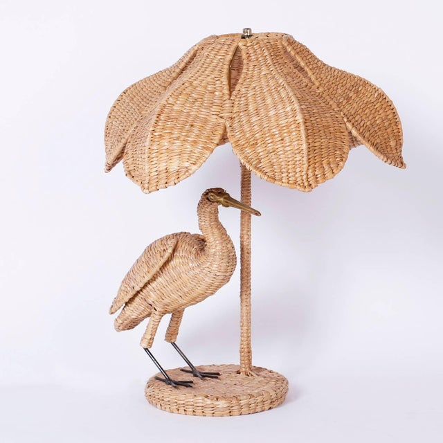 Mario Lopez Torres Mario Lopez Torres Wicker Egret Table Lamps - a Pair For Sale - Image 4 of 10