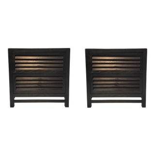 Caracole Modern Black Wood Shutter Nightstands Pair For Sale