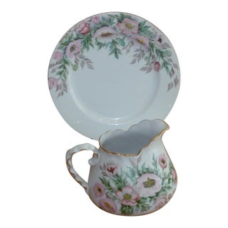 Signed Hand Decorated Porcelain Floral Pitcher With Gold Trimming and Under-Plate Set - a Pair For Sale