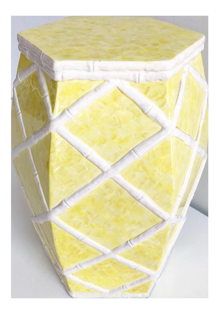 Faux Bamboo Trellis White Yellow Garden Stool Chairish