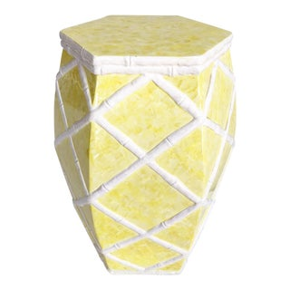 Faux Bamboo Trellis White & Yellow Garden Stool For Sale