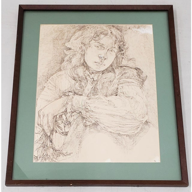 Vintage Pen and Ink Portrait of a Young Man For Sale In San Francisco - Image 6 of 6