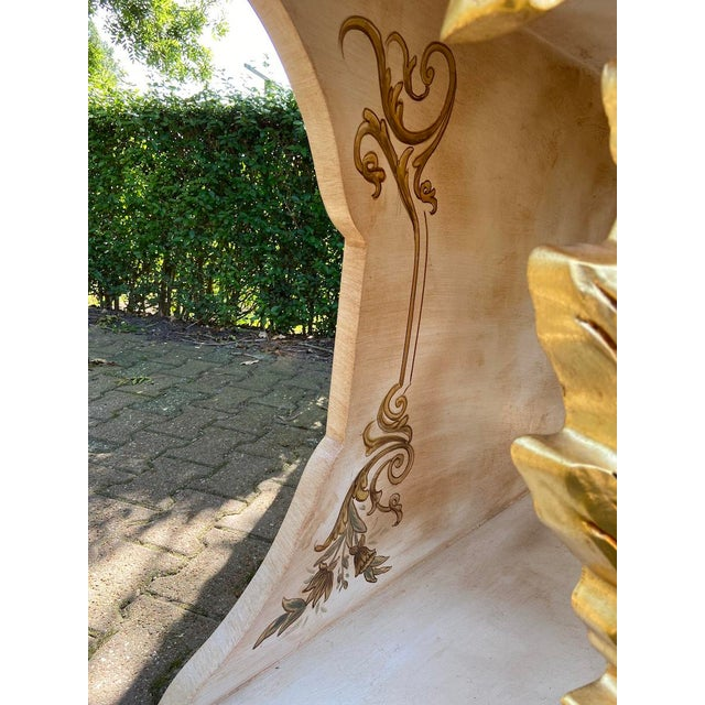 Wood New Italian Rococo/Baroque Style Table in Gold and Brown With Wooden Top For Sale - Image 7 of 13