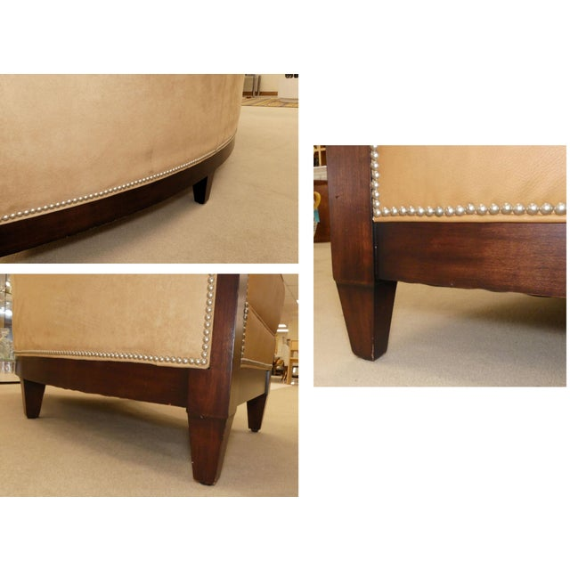 Stanford Furniture Leather & Suede Garrett Curved Dining Bench or Banquette- a Pair For Sale - Image 11 of 13