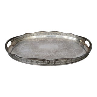 Mid 20th Century Large Sheffield Silver Plate Tray For Sale