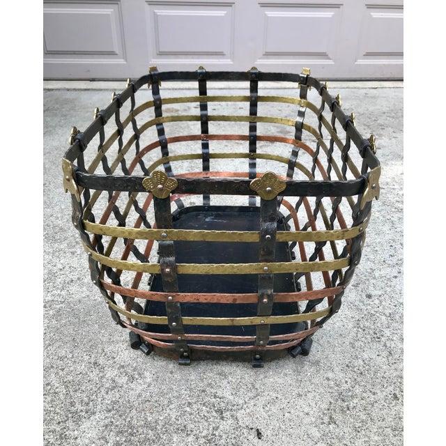 Vintage Mid Century Antonio Vignola Italy Storage / Fire Wood Basket For Sale In Indianapolis - Image 6 of 13
