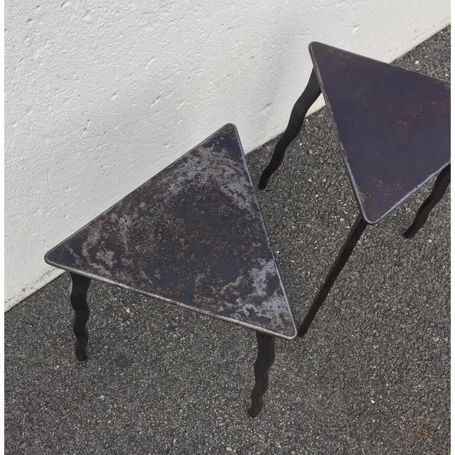 Will Stone Postmodern Will Stone Handmade Steel Side Tables - a Pair For Sale - Image 4 of 10