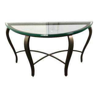 Curved Metal and Tempered Glass Console