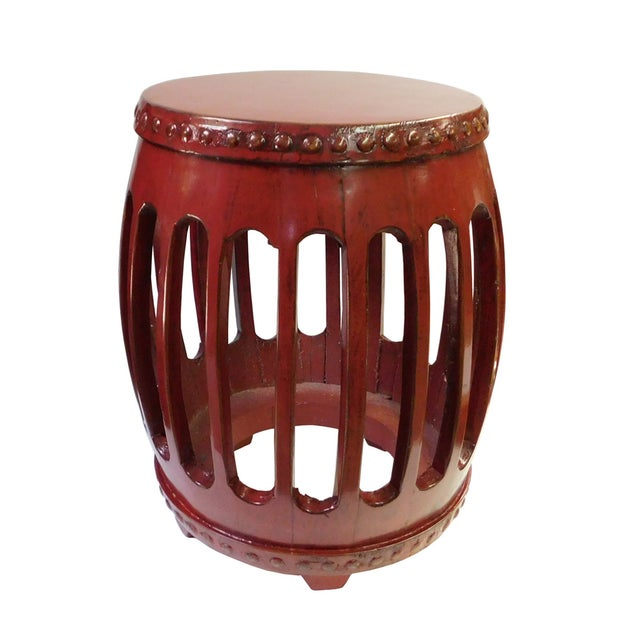 Chinese Red Round Barrel Wood Stools - Pair - Image 2 of 7