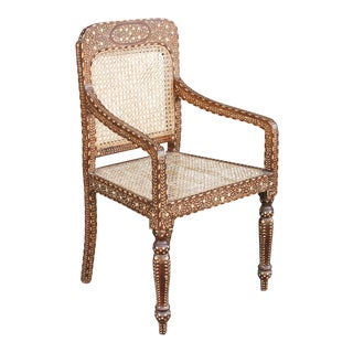 Exquisite Bone Inlay Colonial Arm Chair For Sale