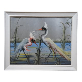 Late 20th Century Herons and Landscape Painting, Framed For Sale