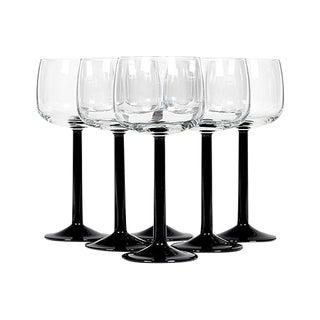1960s French Black Stem Wine Glasses - Set of 6