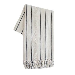 White and Black Striped Guatemalan Blanket For Sale