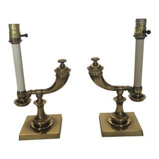 Vintage Stiffel Brass Horn Lamps- A Pair