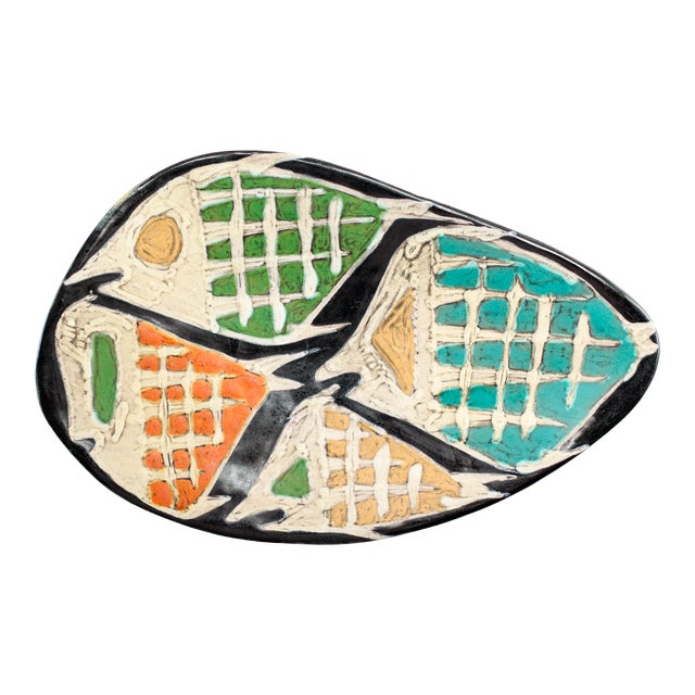 Livia Gorka Mid-Century Art Pottery Plate or Dish Decorated With Four Fish For Sale