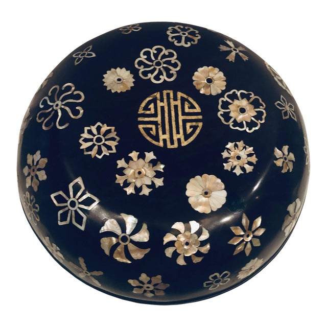 19th Century Lacquer Korean Mother of Pearl Inlay Box For Sale