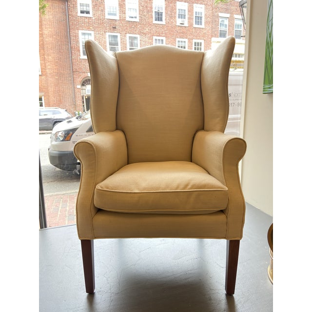 1920s Antique Mahogany, Belgian Linen and Down Cushion Wingback Chairs - a Pair For Sale - Image 4 of 12