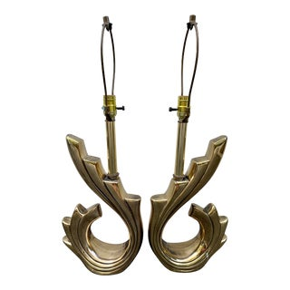 Brass Sculptural Lamps in the Style of Pierre Cardin - a Pair For Sale