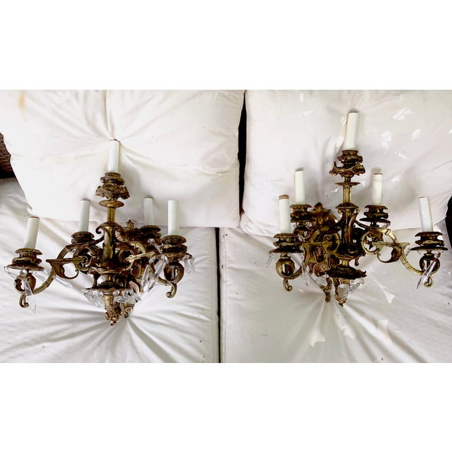 English Rosebud Gilt Bronze and Crystal Sconces With Five Arms, Circa 1800 - a Pair For Sale - Image 13 of 13